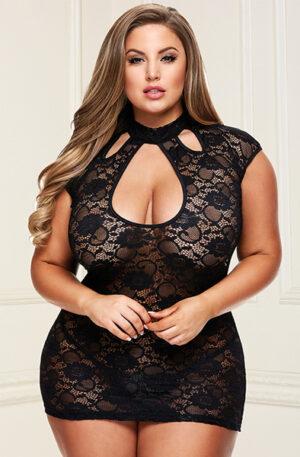 Baci Lingerie Lace Keyhole Mini Dress Black - Sexiga underkläder 1
