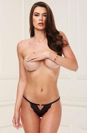 Baci Lingerie Lace Open Crotch Panty Black - Spetstrosa 1
