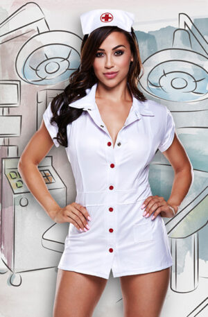 Baci Lingerie Nurses Coat With Red Details And Hat - Sjuksköterska kostym 1