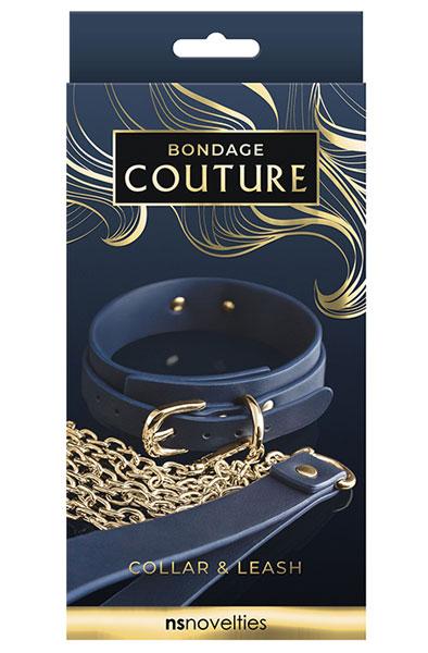 Bondage Couture Collar & Leash Blue - Bondage Halsband & Koppel 2