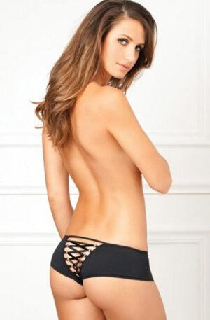 Crotchless Lace Up Back Panty - Trosa med öppen gren 1
