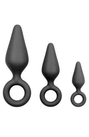 Easytoys Black Buttplug Set With Pull Ring - Analpluggar paket 1