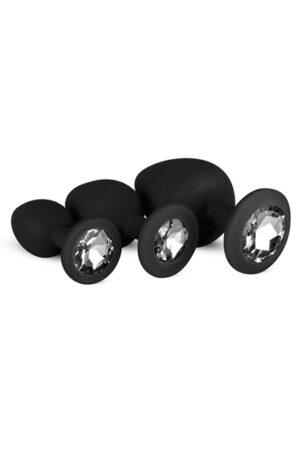 Easytoys Silicone Buttplug Set with Diamond Black - Analpluggar paket 1
