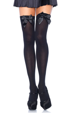 Leg Avenue Nylon Thigh Highs With Bow - Stay-ups 1