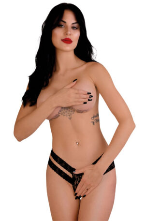 Lucy Crotchless Thong Panty Black - Trosa med öppen gren 1