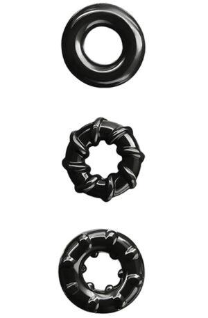 NS Novelties Renegade Dyno Rings Black - Penisringar paket 1