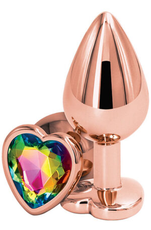 Rose Gold Rainbow Heart Medium - Analplugg 1