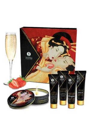 Shunga Erotic Art Geishas Secret Kit Strawberry Wine - Massage paket 1