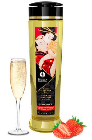 Shunga Massage Oil Romance Sparkling Strawberry Wine 240ml - Massageolja Jordgubb 1